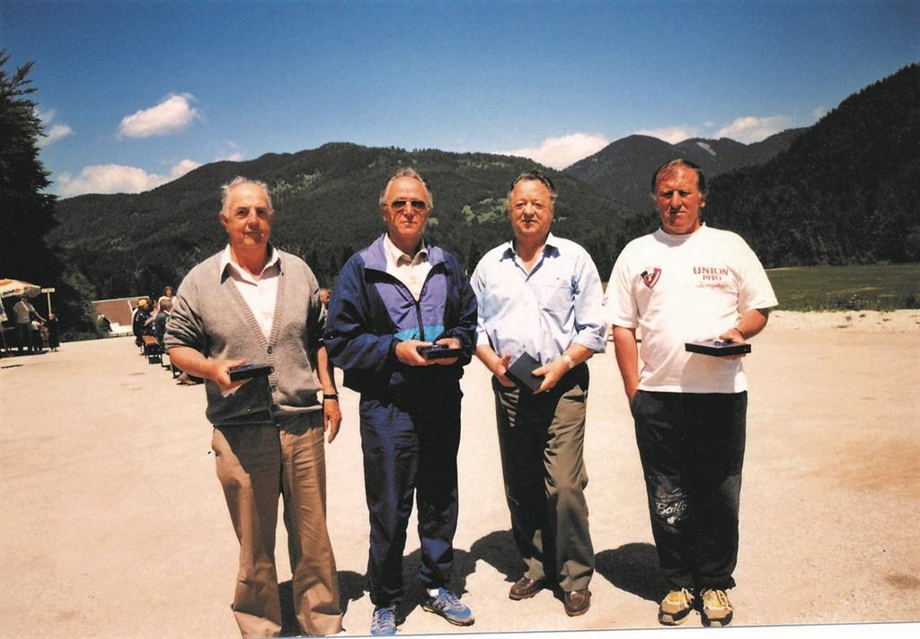 Leta 1997 v Planici: Jože Osvald, Vladimir Petrič, Franc Makše, Franc Kajžar