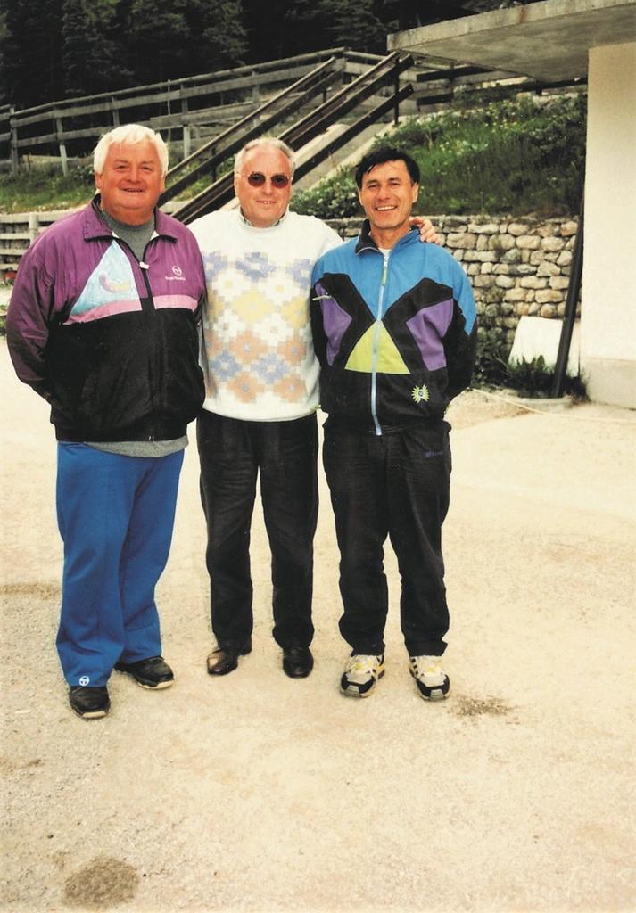 Leta 1997 v Planici: Jožef Kavalar, Franc Makovec, Alojz Kerštajn